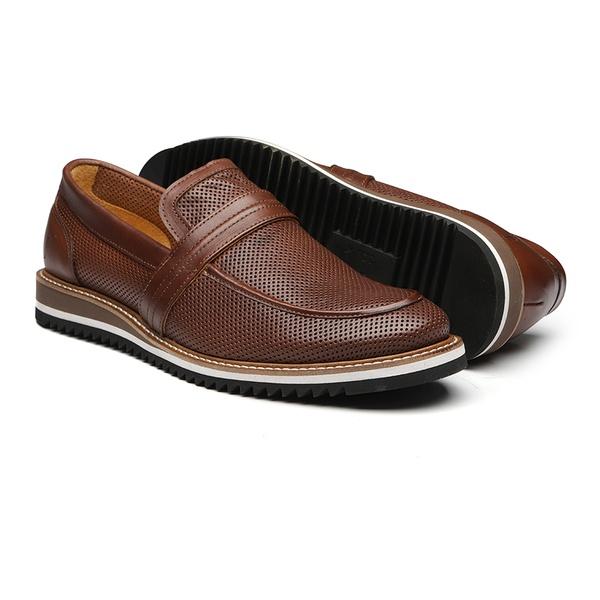 Sapato Masculino Mocassim Napa Furadinho Amendoa