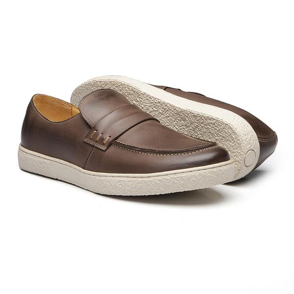 Sapato Masculino Mocassim Fossil Gravata Lisa Stone