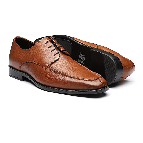 Sapato Masculino Derby Floater Recorte Pala Tabaco