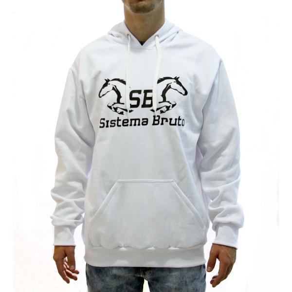 Moletom SB Sistema Bruto - Branco Estampa Preto