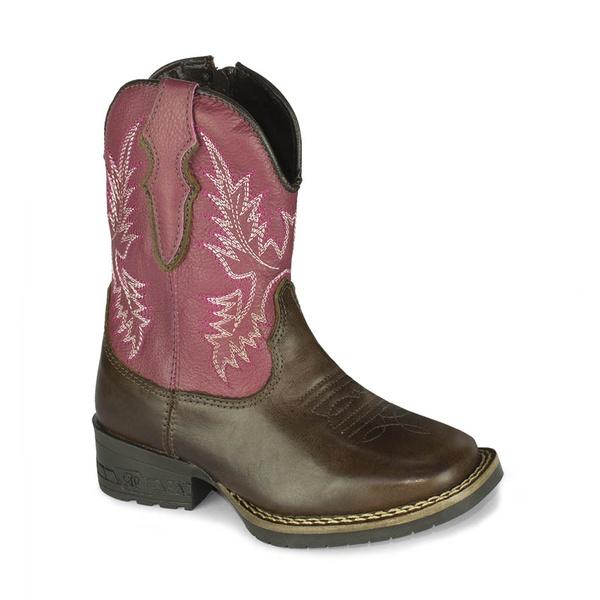Bota Texana Infantil Cano Rosa - Marrom/Rosa