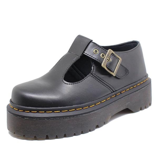 Sapato Inglês Estilo Veggie Boneca Preto Alto