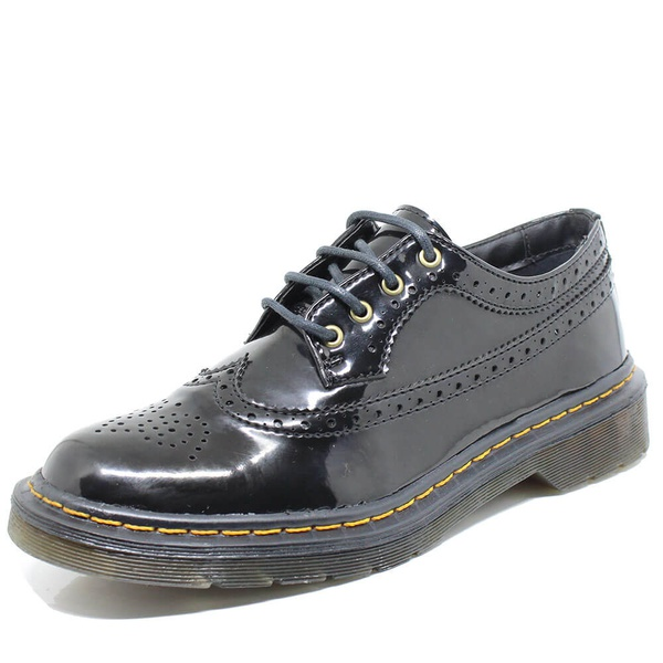 Sapato Oxford Estilo Veggie Rolly Verniz Preto