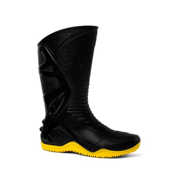 Bota Pvc Motoqueiro Preta/amarela Motosafe 41