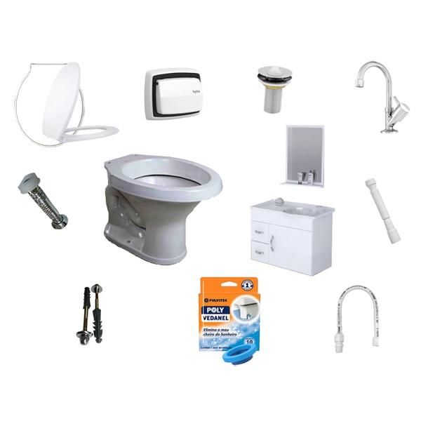 Kit Banheiro Completo Com Vaso e Armário Vários Itens