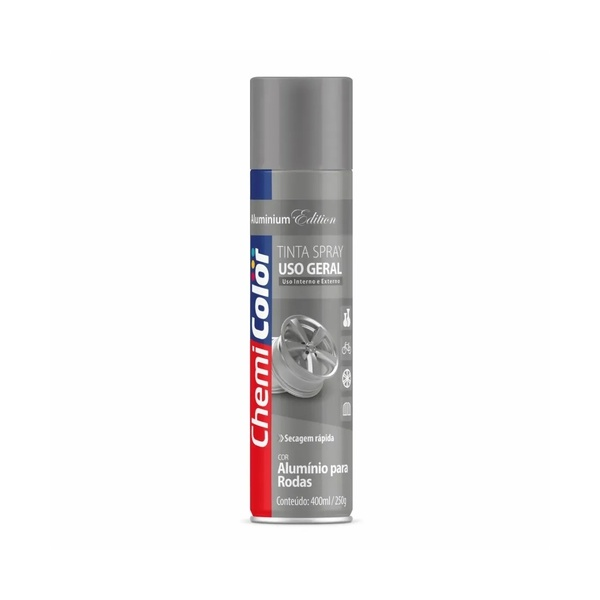 Tinta Spray Aluminio para Rodas Uso Geral Multiuso 400 ml