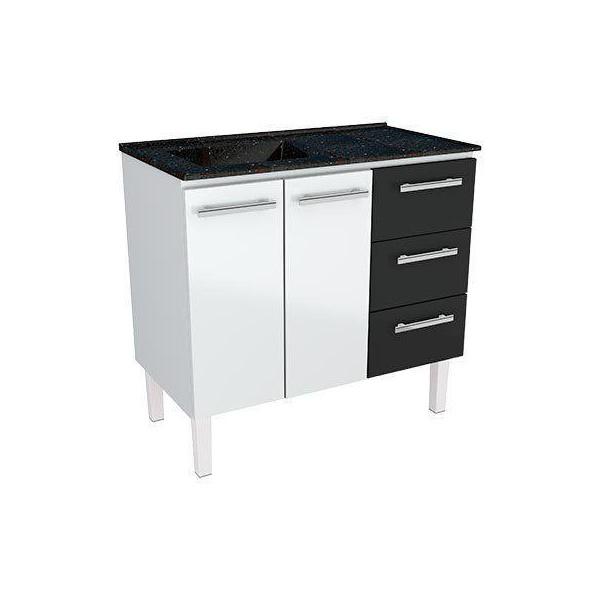 Armário de Cozinha em Aço Vênus Flat 1,20 Cozimax Preto