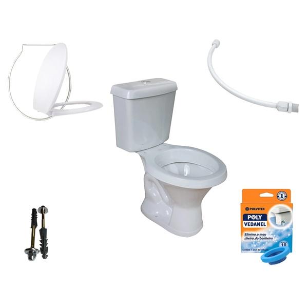 Kit Banheiro Com Vaso Acoplado Redondo, Assento Sanitário e Vários Itens
