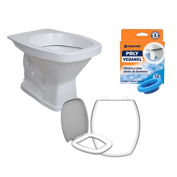 Kit Banheiro Com Vaso Quadrado, Assento Sanitário e Anel de Vedação