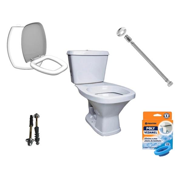 Kit Banheiro Com Vaso Acoplado Quadrado, Assento Sanitário e Vários Itens
