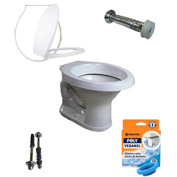 Kit Banheiro Com Vaso Redondo, Assento Sanitário e Vários Itens