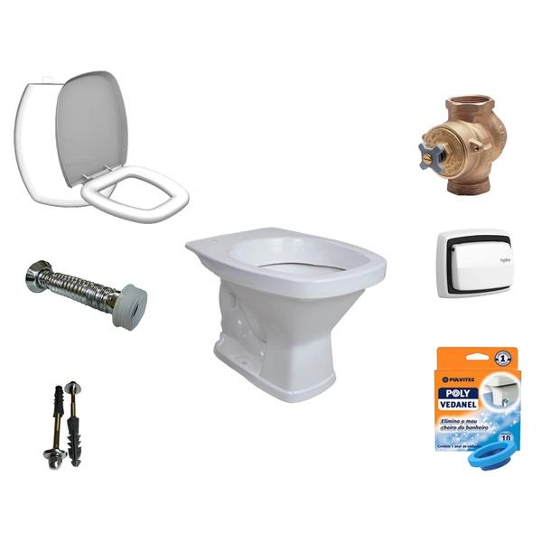 Kit Banheiro Com Vaso Quadrado, Assento Sanitário e Vários Itens