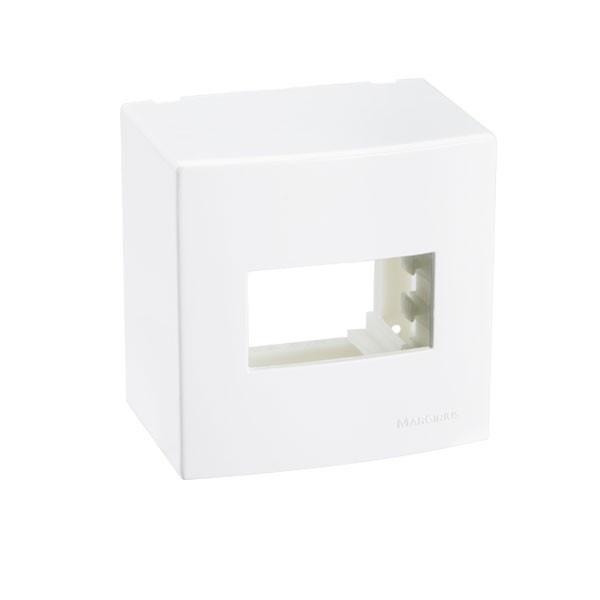 Caixa Sobrepor 75x75 1posto Com Suporte Branco Sleek Pa018643 Margirius