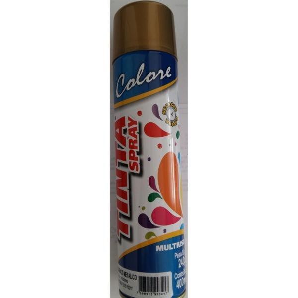 Tinta Spray Dourado Metálico Secagem Rápida Multiuso 400ml Colore