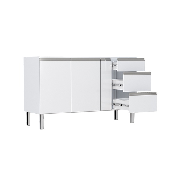 Armário de Cozinha em Aço 1,50 Gaia Flat Cozimax Branco
