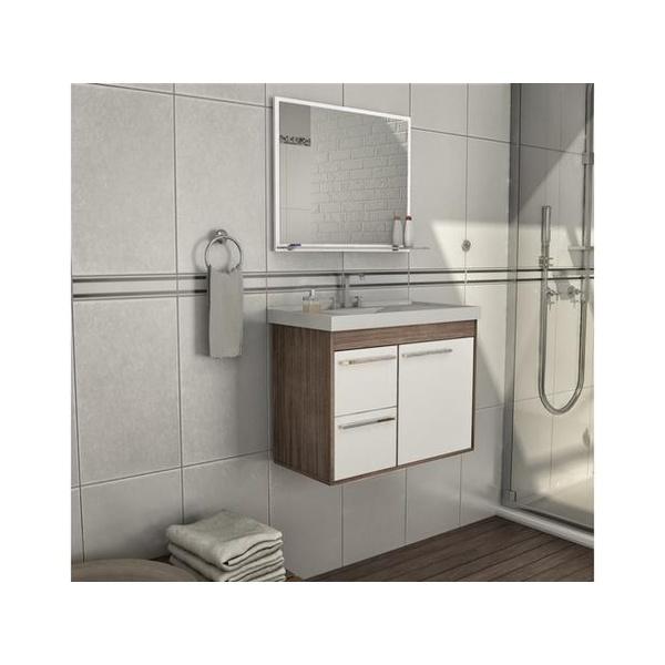Gabinete De Banheiro Cerocha Procion Munique Com Branco 63,0cm