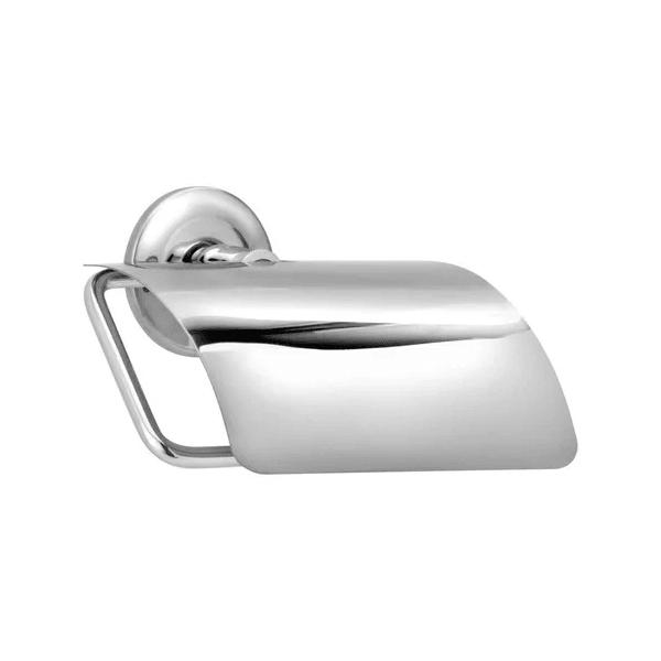 Porta Papel Higiênico Com Tampa Banheiro Metal Inox