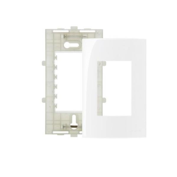 Placa 4x2 3 Postos Margirius Sleek Branca Com Suporte Pa016023