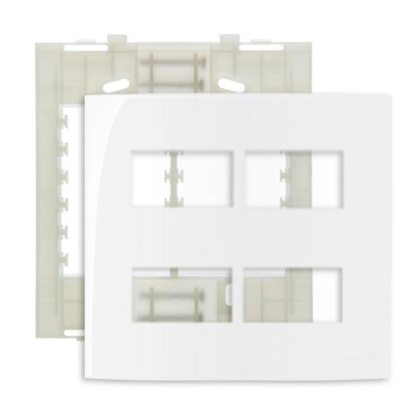 Placa 4x4 4 Postos Separados Margirius Sleek Branca Com Suporte Pa016019