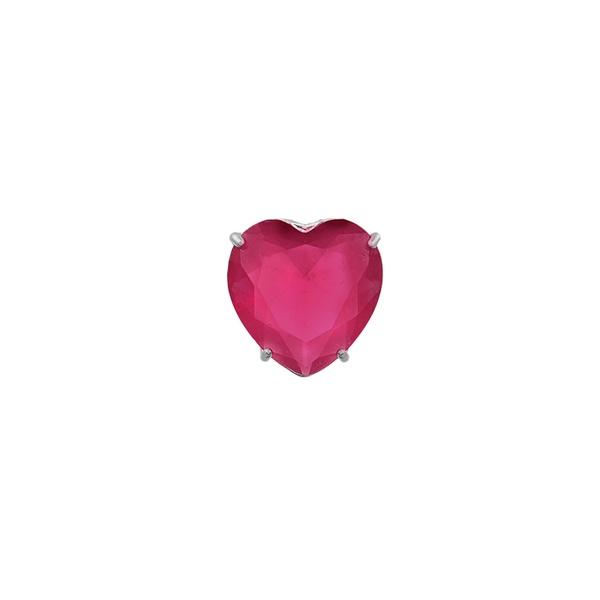 Pingente Coração Zircônia Cereja em Prata 925