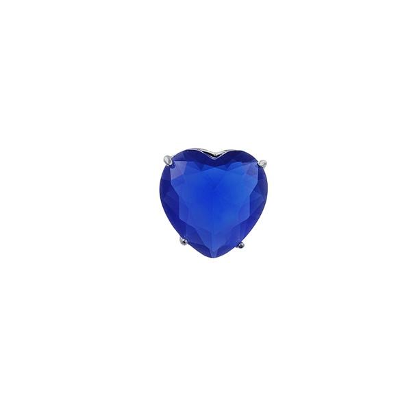 Pingente Coração Zircônia Azul Escuro em Prata 925
