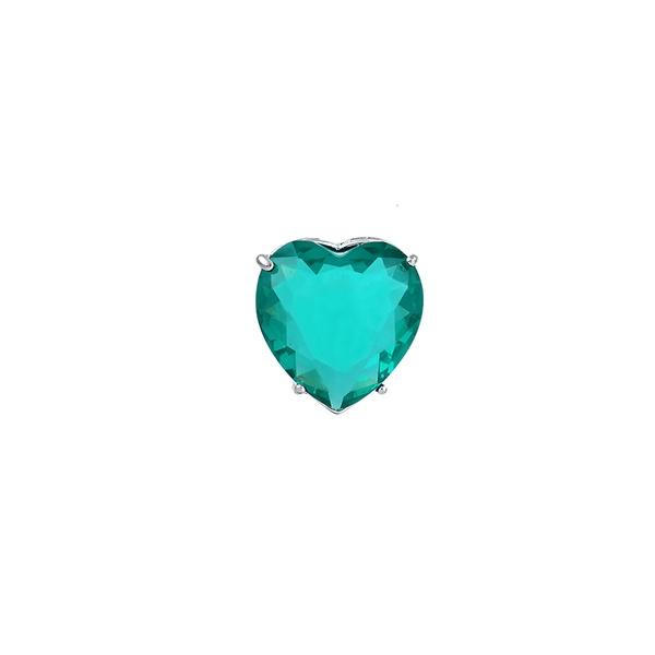 Pingente Coração Zircônia Azul Brilhante em Prata 925