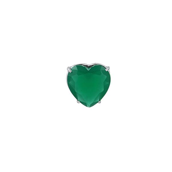 Pingente Coração Zircônia Verde em Prata 925