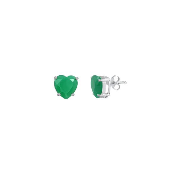 Brinco Coração Zircônia Verde em Prata 925
