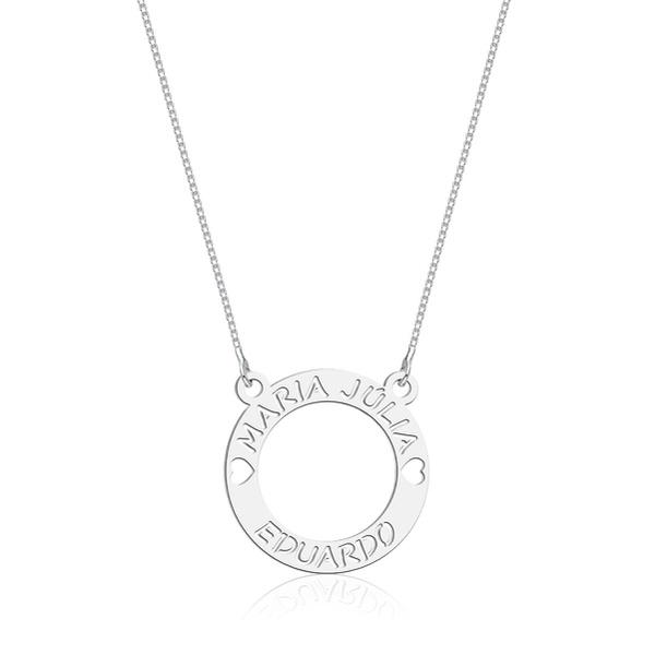 Colar Mandala Dois Nomes Corações em Prata 925