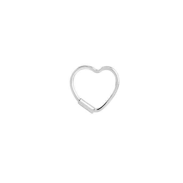 Piercing Furo Coração (1cm) em Prata 925