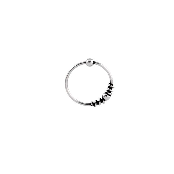 Piercing Furo Indiano Espirais (1,2cm) em Prata 925