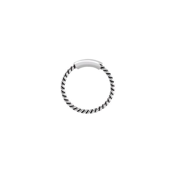 Piercing Furo Trançado (1cm) Envelhecido em Prata 925