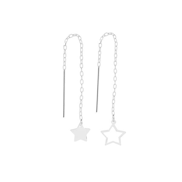 Brinco Estrelas Corrente em Prata 925