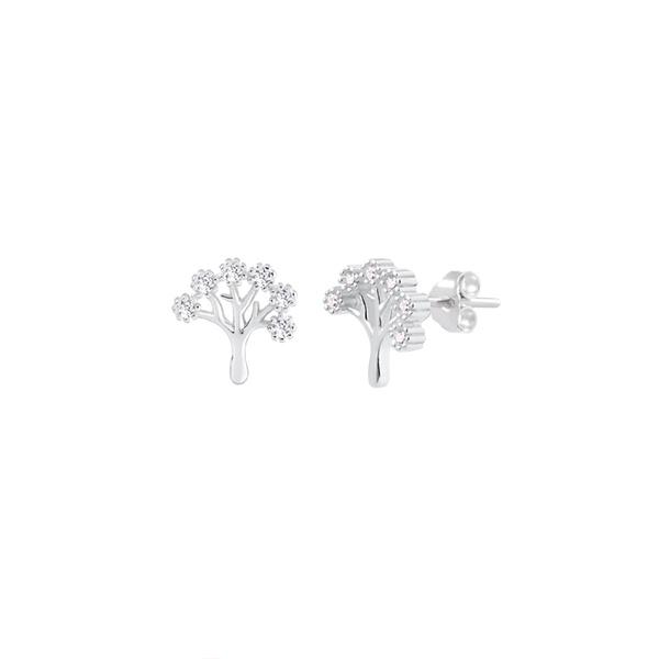 Brinco Árvore da Vida Zircônias em Prata 925