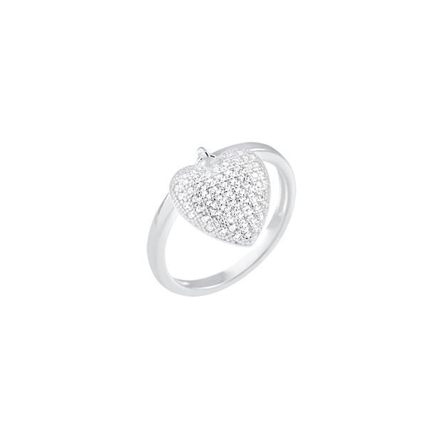 Anel Pingente Coração em Prata 925