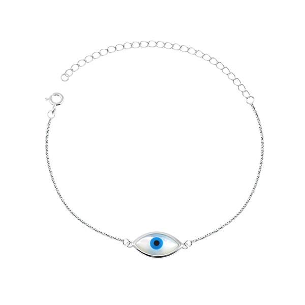 Pulseira Olho Grego em Madrepérola em Prata 925