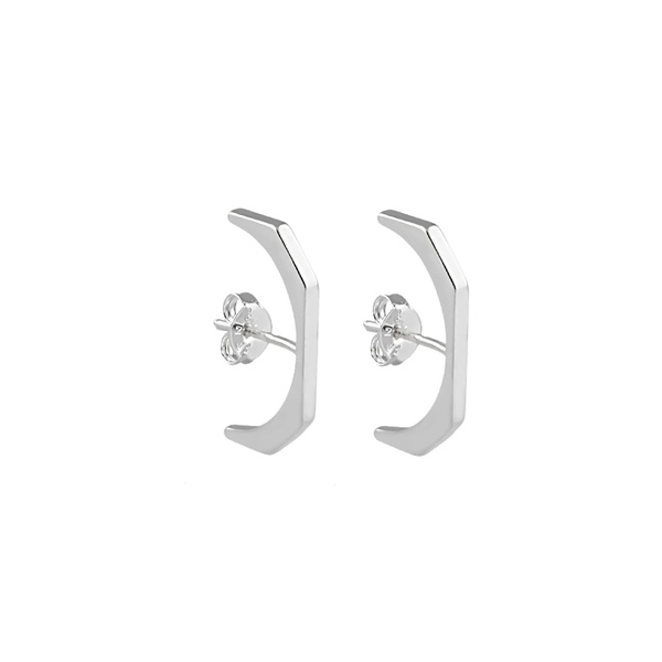 Brinco Ear Hook Liso em Prata 925