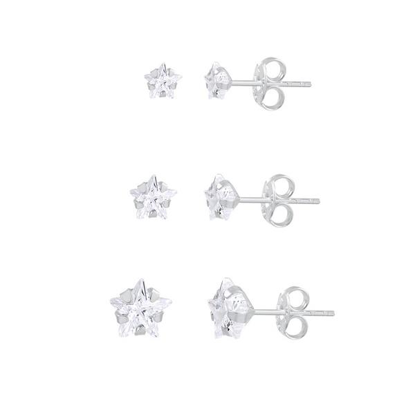 Trio de Brincos Zircônia Estrela em Prata 925