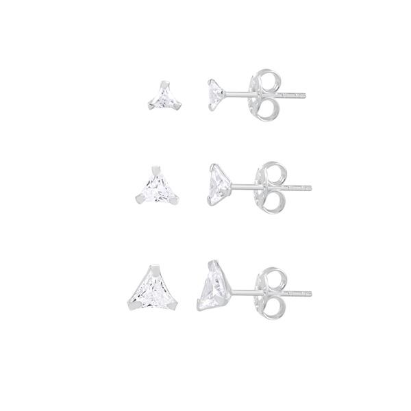Trio de Brincos Zircônia Triângulo em Prata 925