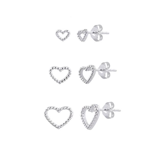Trio de Brincos Coração Vazado Bolinhas em Prata 925