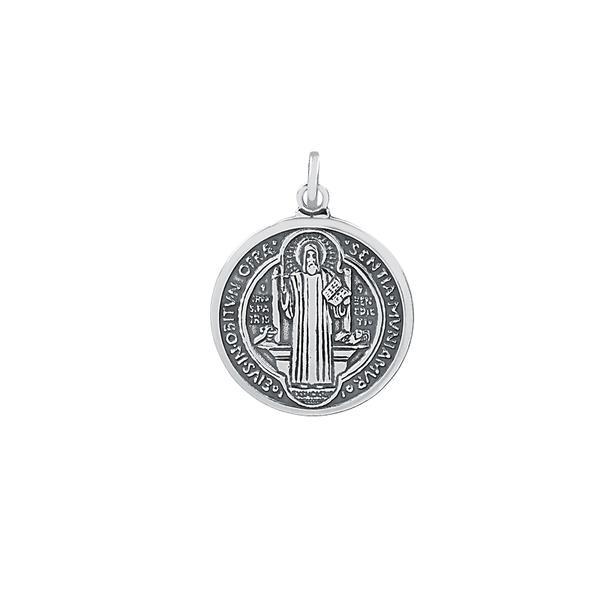 Pingente Medalha de São Bento Envelhecido Médio em Prata 925