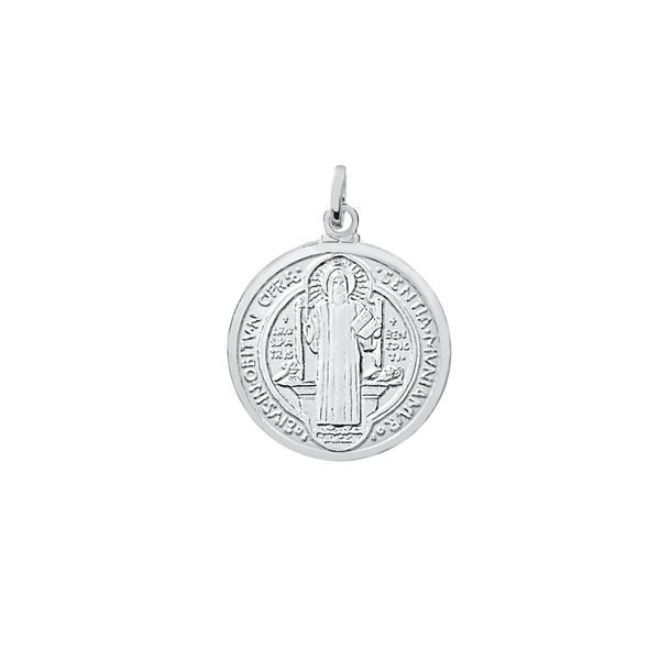 Pingente Medalha de São Bento Médio em Prata 925