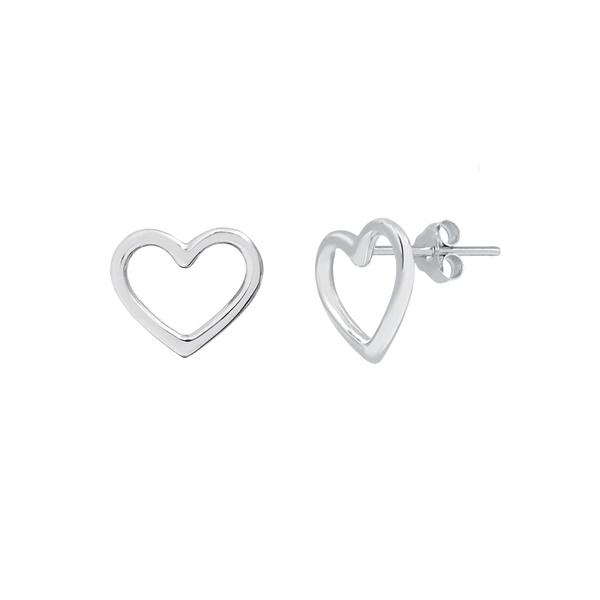 Brinco Coração Liso Vazado em Prata 925
