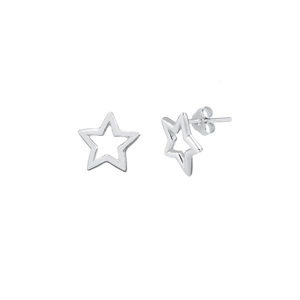 Brinco Estrela Liso Vazado em Prata 925