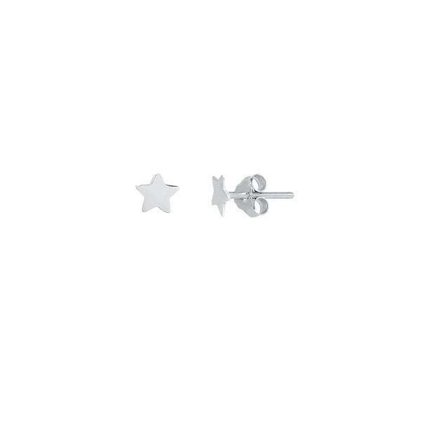 Brinco Estrela Liso em Prata 925