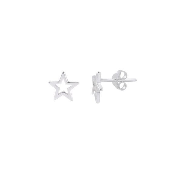 Brinco Estrela Liso Vazado Pequeno em Prata 925