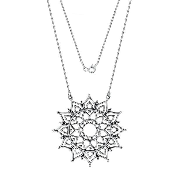 Gargantilha Mandala Sol Envelhecida em Prata 925