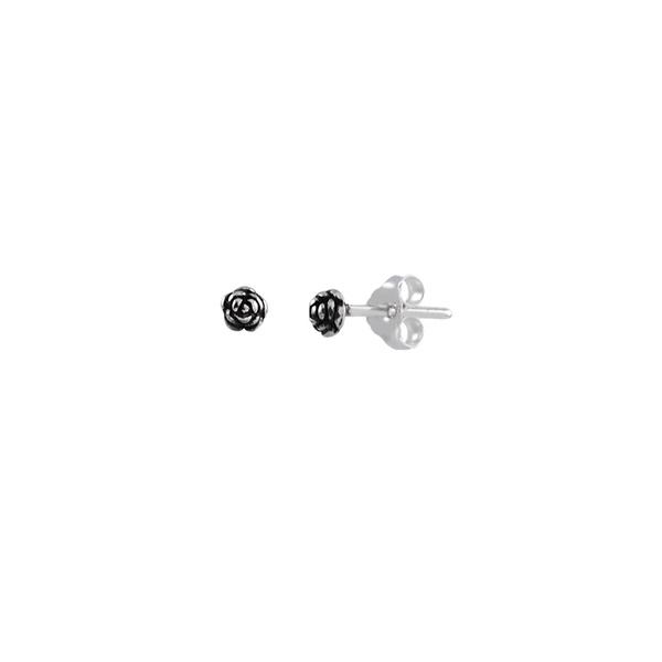 Brinco Flor Pequeno Envelhecido em Prata 925