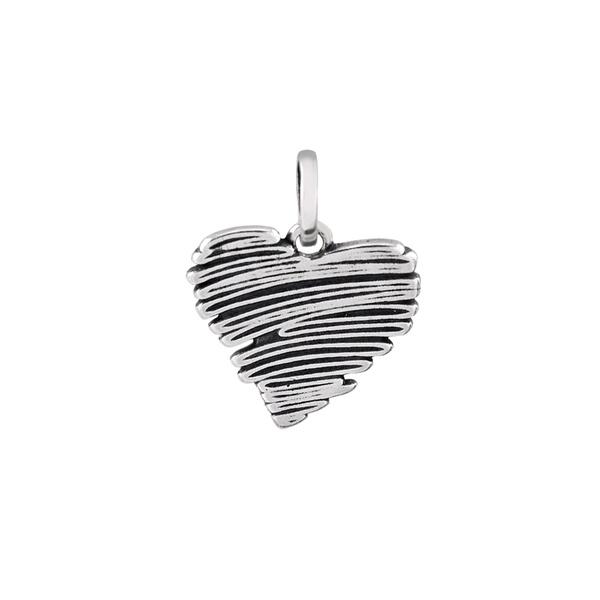 Pingente Coração Envelhecido em Prata 925