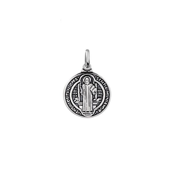 Pingente Medalha de São Bento Envelhecido Pequeno em Prata 925